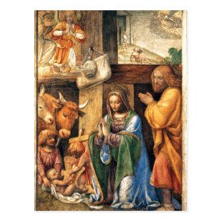 Natividad y anuncio a los pastores tarjeta postal