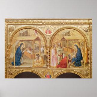 Natividad y la adoración de unos de los reyes mago poster