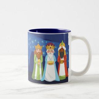 Natividad y los tres hombres sabios taza de dos tonos
