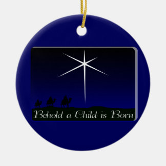 Nativity A Child Is Born Double-Sided Ceramic Round Christmas Ornament