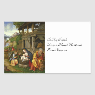Nativity and Child Angels  c1515 Rectangular Sticker