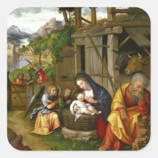 Nativity and Child Angels  c1515 Square Sticker