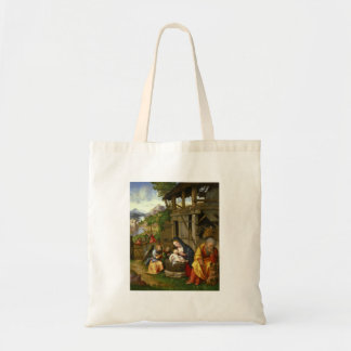 Nativity and Child Angels Tote Bag