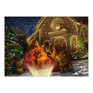Nativity and Church - The Birth of Christ Card