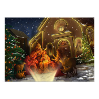 Nativity and Church - The Birth of Christ Custom Announcements