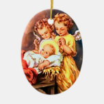 Nativity angels Double-Sided oval ceramic christmas ornament