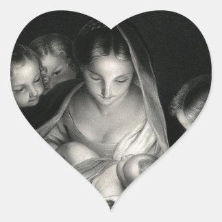 Nativity Baby Jesus Virgin Mary Angels Black White Heart Sticker