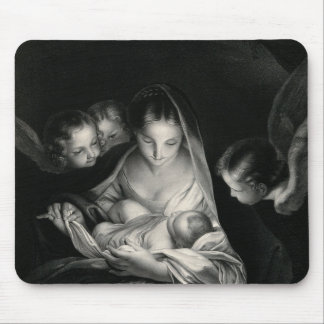 Nativity Baby Jesus Virgin Mary Angels Black White Mouse Pad
