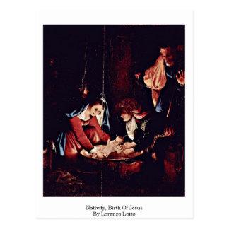 Nativity, Birth Of Jesus By Lorenzo Lotto Postcard