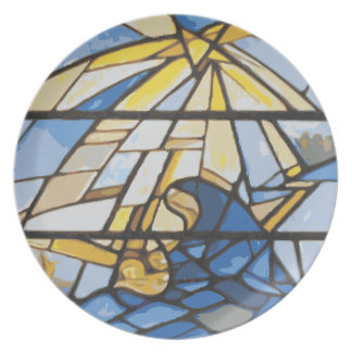 Nativity Blues Stained Glass Dinner Plate