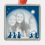 Nativity Border Square Metal Christmas Ornament