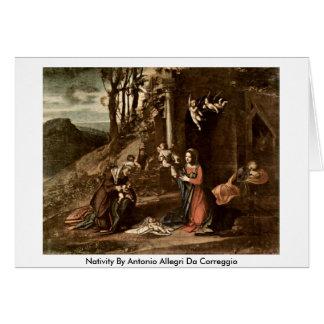 Nativity By Antonio Allegri Da Correggio Card