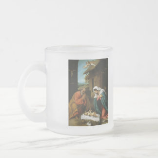 Nativity Christ Baby Jesus Christianity Scripture Frosted Glass Coffee Mug