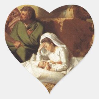 Nativity Christ Baby Jesus Christianity Scripture Heart Sticker