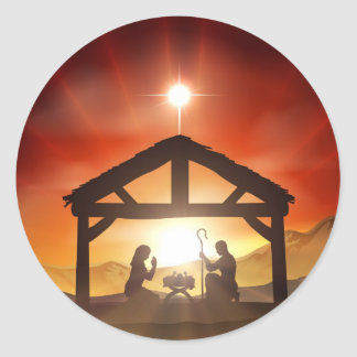 Nativity Christian Christmas Scene Classic Round Sticker