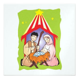 Nativity Christmas Birth of Jesus Christ Stamps Custom Invite