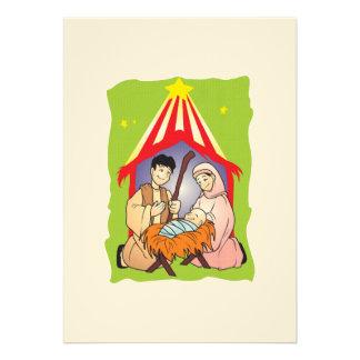 Nativity Christmas Birth of Jesus Christ Stamps Invitation