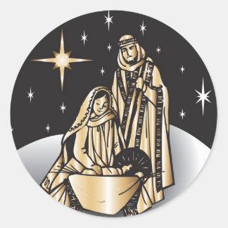 Nativity Christmas Classic Round Sticker