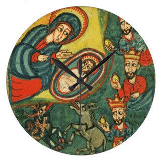 NATIVITY CHRISTMAS PARCHMENT ,ADORATION OF MAGI LARGE CLOCK