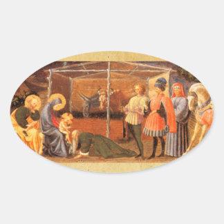 NATIVITY CHRISTMAS PARCHMENT/ ADORATION OF MAGI OVAL STICKER