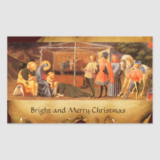 NATIVITY CHRISTMAS PARCHMENT/ ADORATION OF MAGI RECTANGULAR STICKER