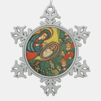 NATIVITY CHRISTMAS PARCHMENT ,ADORATION OF MAGI SNOWFLAKE PEWTER CHRISTMAS ORNAMENT