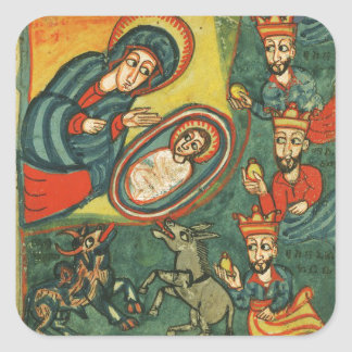 NATIVITY CHRISTMAS PARCHMENT ,ADORATION OF MAGI SQUARE STICKER