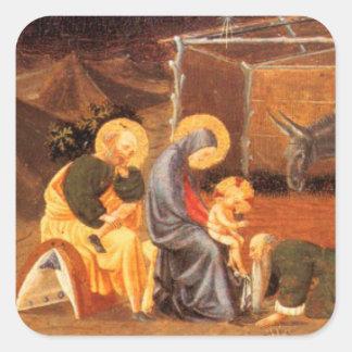 NATIVITY CHRISTMAS PARCHMENT/ ADORATION OF MAGI SQUARE STICKER