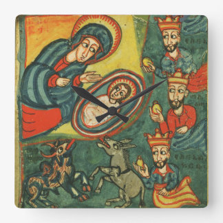 NATIVITY CHRISTMAS PARCHMENT ,ADORATION OF MAGI SQUARE WALL CLOCK
