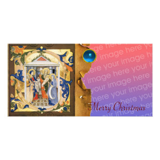 NATIVITY CHRISTMAS PARCHMENT Blue Gem Photo Card