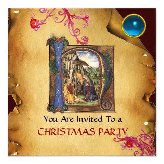 NATIVITY CHRISTMAS PARTY PARCHMENT  Monogram Card
