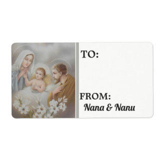 Nativity Christmas Personalized Label