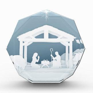 Nativity Christmas Scene Paper Art Style Acrylic Award
