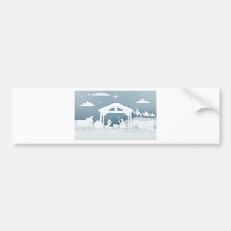 Nativity Christmas Scene Paper Art Style Bumper Sticker