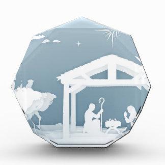 Nativity Christmas Scene Papercraft Style Acrylic Award