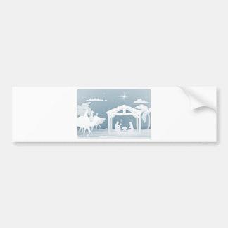 Nativity Christmas Scene Papercraft Style Bumper Sticker