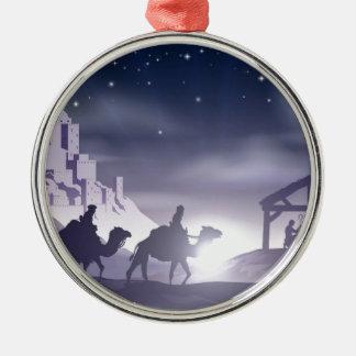 Nativity Christmas Scene Round Metal Christmas Ornament