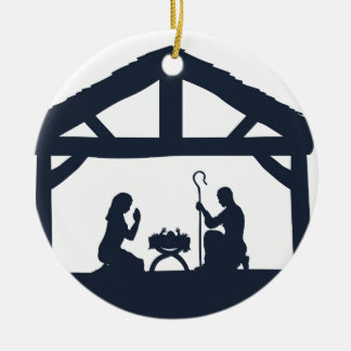 Nativity Christmas Scene Silhouettes Ceramic Ornament