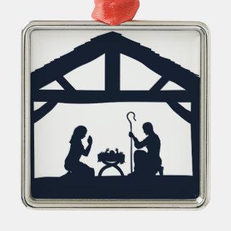 Nativity Christmas Scene Silhouettes Metal Ornament
