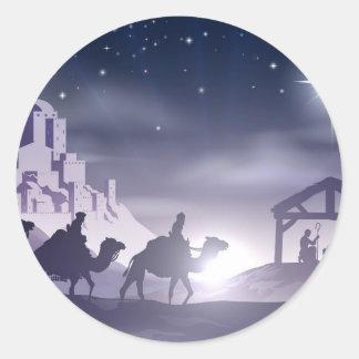Nativity Christmas Scene Classic Round Sticker