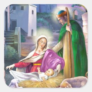 Nativity Christmas Square Sticker