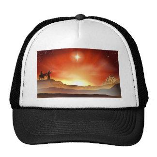 Nativity Christmas story illustration Trucker Hat