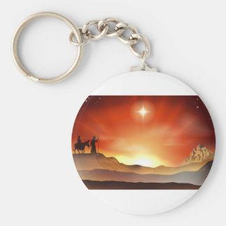 Nativity Christmas story illustration Keychain