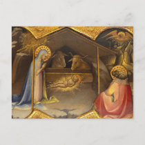 Nativity Crib Blessed Virgin Mary Infant Jesus Holiday Postcard
