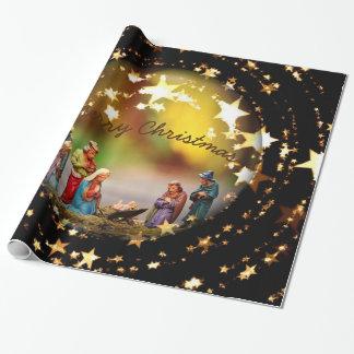 Nativity Crib Virgin Mary Jesus Christmas Stars Wrapping Paper