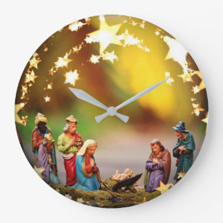 Nativity Crib Virgin Mary Jesus Stars Christmas Large Clock