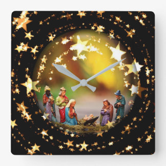 Nativity Crib Virgin Mary Jesus Stars Christmas Square Wall Clock