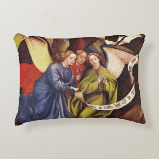 Nativity, detail of three angels, c.1425 decorative pillow