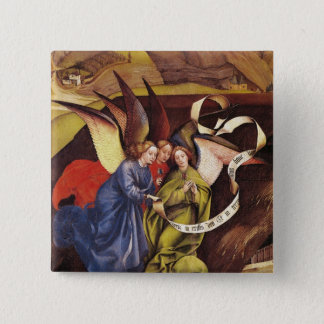 Nativity, detail of three angels, c.1425 pinback button