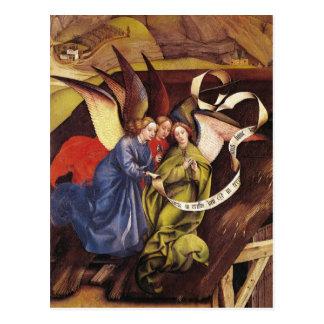 Nativity, detail of three angels, c.1425 postcard